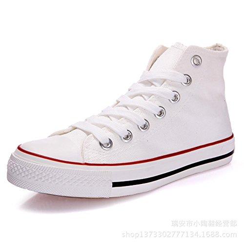 Tolle Sportliche High-Top College Leinwand Schnürer Damen Schuhe Kult Sneaker , white , 37