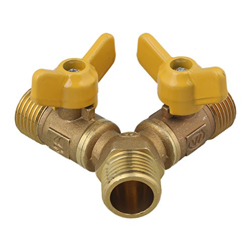 Valve Male Connector (BQLZR 3 Way Solid Brass Y Valve Male Thread Hose Connector with Comfort Grip)