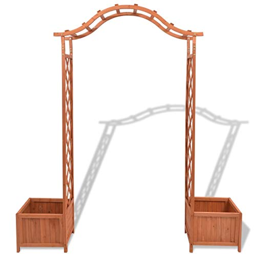 Tidyard Trellis Arbor Rose Arch with 2 Planters Pergola Weather-Resistant & Waterproof Outdoor Garden Lawn for Climbing Plants Bridal Party Decoration Backyard Patio, Wedding 70.9