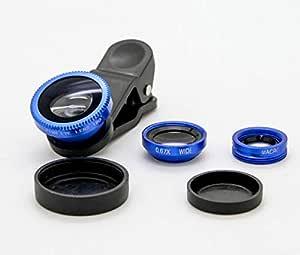 عدسات الموبايل 3 في 1 عدسات التابلت ذات مشبك عالمي - عين السمكة ، ميكرو، زاوية واسعة - زرقاء