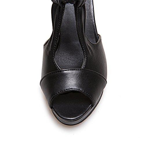 Strap with Stiletto Women Heel Buckle Black Sandals High Ankle YE Pumps 18YHPwY