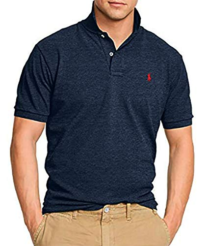 Red Heart Shirt - Polo Ralph Lauren Men's Classic Fit Mesh Polo Shirt (Large, Blue/Heart Red Pony)