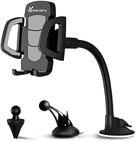 Phone Holder for Car, Vansky 3-in-1 Universal Cell Phone Holder Car Air Vent Holder Dashboard Mount Windshield Mount for iPhone 12 11 X XR 7/7 Plus, Samsung Galaxy S9 LG Sony and More