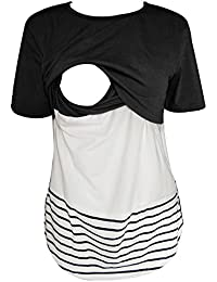 Women Nursing Shirts Short Sleeve Lace Striped Breastfeeding Clothes Nursing Tops