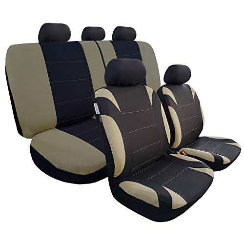 Full Coverage Car Seat Covers, Full Set Seat Covers of 5 Detachable Headrests and Solid Bench, Universal Auto Seat Protector Fit Most Car, Truck, SUV, or Van, Non Slip, Airbag & Split Ready,Black&Khak