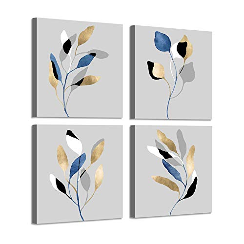 Leaf Artwork Nature Picture Painting: Branch with Golden Leaves, 4 Pieces Wall Decor Set (And Gold Art White)