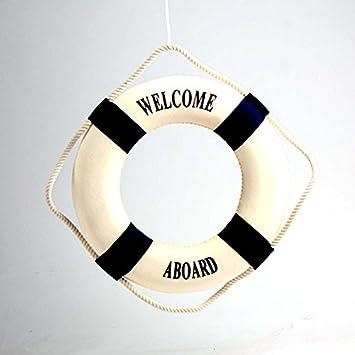 Kicode La decoración mediterránea del bote salvavidas a bordo de la boya de vida decorativo Decoración