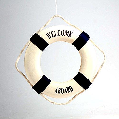 Kicode La decoración mediterránea del bote salvavidas a bordo de la boya de vida decorativo Decoración 14CM (azul): Amazon.es: Hogar