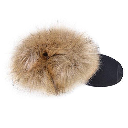 Hibote Botas de Nieve Para Mujer Botas de Mujer con Botas de Piel Acolchada Caliente Zapatos de Piso Al Aire Libre Botas de Nieve 36-41 Negro