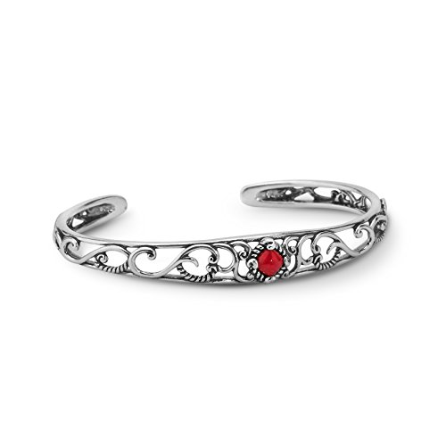 Carolyn Pollack Sterling Silver Red Coral Gemstone Cuff Bracelet Size Large ()