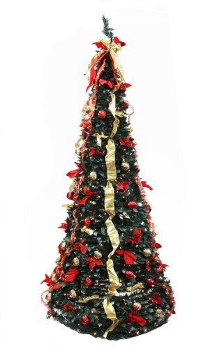 Rich Pacific 6' Pre-Lit Pop Up Medium Red and Gold Artificial Christmas Tree - Clear Lights (Artificial Christmas Gold Trees)