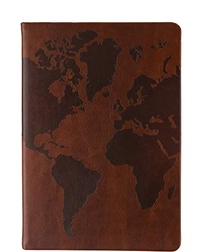 Eccolo World Traveler Style Journal World Map Notebook, 256 Lined Pages, -