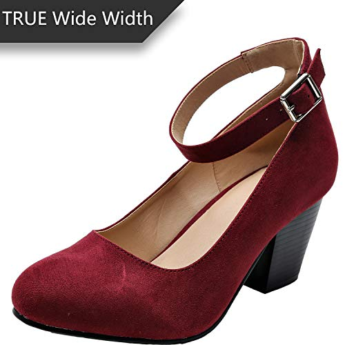 Burgundy Suede Shoes - Luoika Women's Wide Width Heel Pump Shoes - Ankle Buckle Strap Round Closed Toe Dressing Shoes. (Burgundy Suede 180320,8WW)