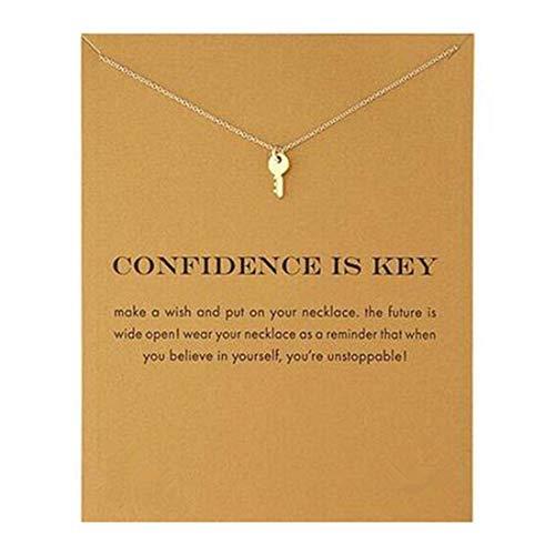HUNO Dainty Lucky Elephant Horseshoe Clavicle Chain Key Angel Wing Hexagram Star Pendant Necklace Friendship BFF Jewelry-Key