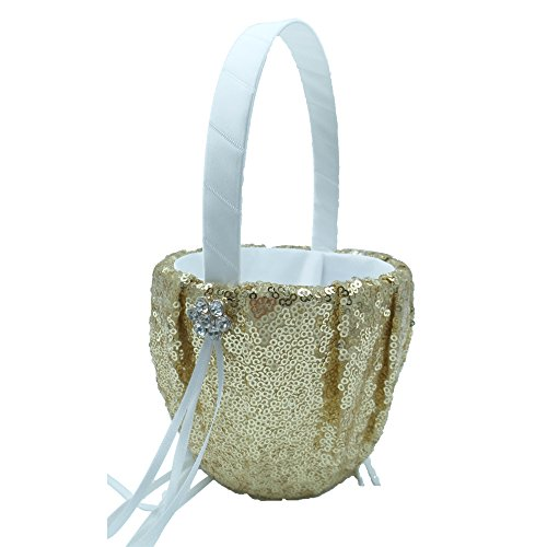 Basket Flower Rhinestone (Abbie Home Sequin Glitter Wedding Flower Basket Rhinestone Décor Wedding Party Favor (Gold Basket))