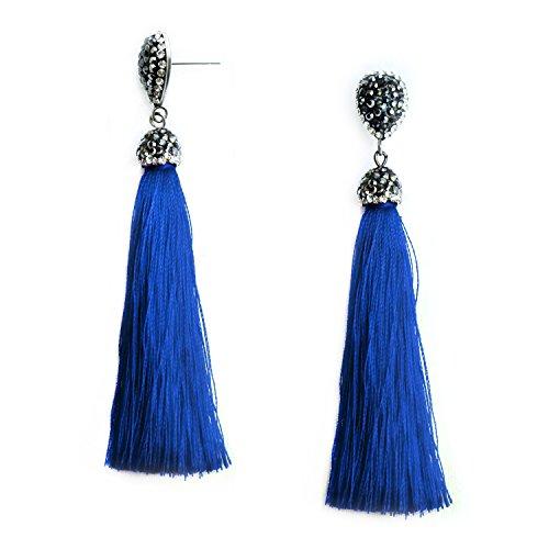 Ladies Blue Thread Royal - Royal Blue Tassel Dangle Drop Earrings Thread Tassel Long Fringe Statement Earrings Bohemian Jewelry for Women Girls