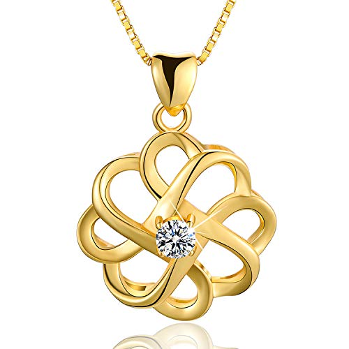 Esberry 18K Gold Plated 925 Sterling Silver CZ Simulated Diamond Vintage Celtic Knot Pendant Necklace Cubic Zirconia Pendant with Necklaces for Girls and Women (Yellow Gold-2)