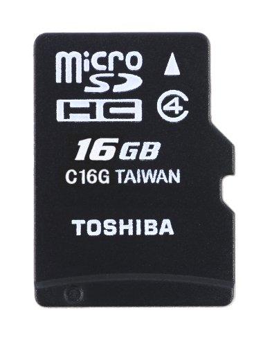 Toshiba High Speed Standard - Tarjeta microSD de 16 GB (Clase 4, con Adaptador), Negro