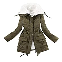 QINGYUAN Women's Candy Color Parkas Warm Winter Coat