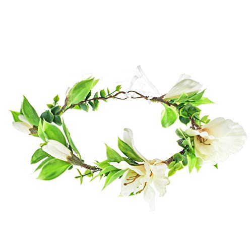 Floral Fall Magnolia Flower Crown Hair Wreath Bridal Flower Maternity Photo Props NS02 (Ivory) ()