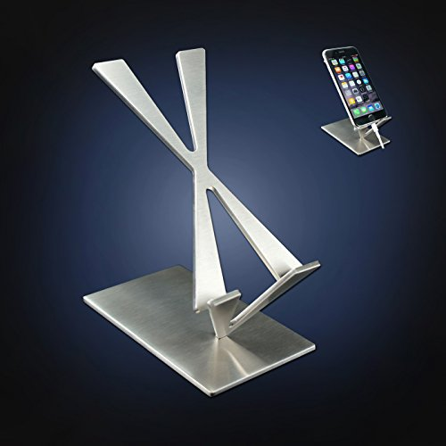 ArtsOnDesk Modern Art Desk iPhone Stand St204 Stainless Steel Satin Finish Patent Registered--Specially Designed for iPhone 8/8 plus/x/7/7 plus, Google Pixel Samsung Galaxy Ipad Tablet Holder Gift