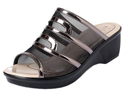 Découpe Peep Mules Easemax Chaussure Gris Toe Femme Unique Compensée RHHIgfq