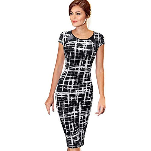 Quealent Women's Casual Striped Print Wear to Work Office Career Sheath Dress Business Pencil Party Mini Dresses ...