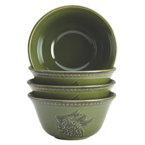 BonJour Dinnerware Sierra Pine 4-Piece Stoneware Cereal Bowl Set, Forest
