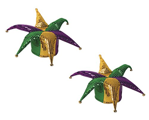 Beistle S60702AZ2, 2 Piece Glitz 'N Gleam Jester Hats, One Size Fits (Plush Jester Hat)