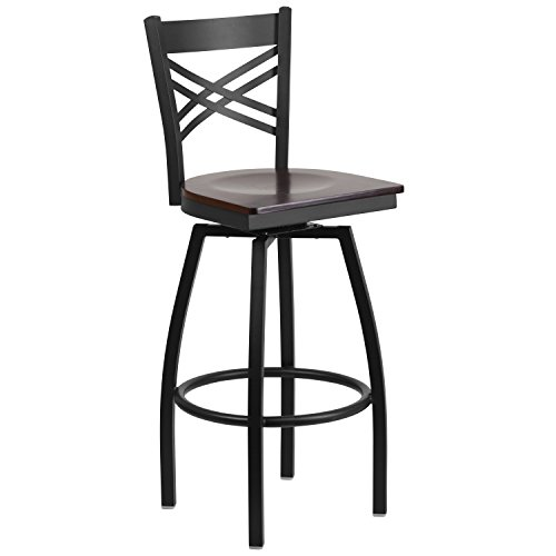 Flash Furniture HERCULES Series Black ''X'' Back Swivel Metal Barstool - Walnut Wood Seat