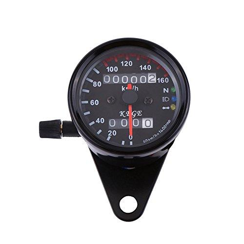 Qiilu Universal Motorcycle Dual Odometer Speedometer Gauge LED Backlight Signal Digital Display KM/H [Black]