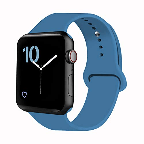 VATI Sport Band Compatible for Apple Watch Band 38mm 40mm, Soft Silicone Sport Strap Replacement Bands Compatible with 2019 Apple Watch Series 5, iWatch 4/3/2/1, 38MM 40MM S/M (Denim Blue)