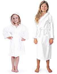 Indulge Terry Hooded Kids Bathrobe For Girls and Boys, 100% Cotton, Made In Turkey