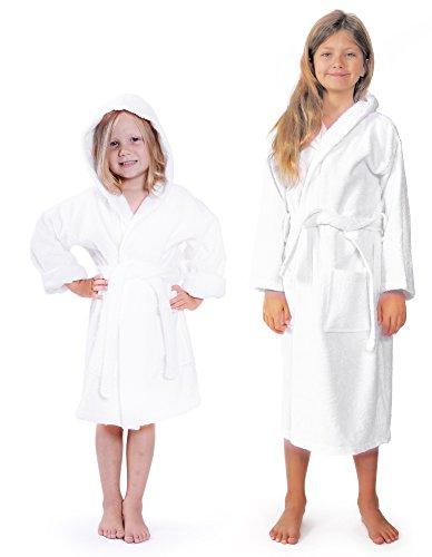 Indulge Turkish Linen Girls Terry Bathrobe, Hooded, 100% Cotton, Made In Turkey (XXL, White) (Cotton Linen Robe)