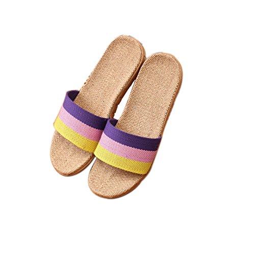 TELLW Linen Slippers Couple Indoor Wood flooring Cotton Linen Anti-Slip Thick Bottom Summer Slippers For Men and Women Yellow Pin Purple cZ1JAj