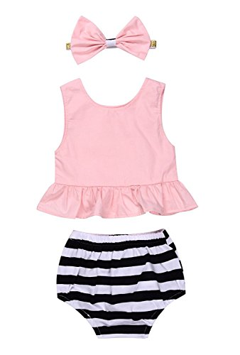 Younger Tree Baby Girl Summer Clothes Pink Blouse Top + Striped Shorts + Headband 3Pcs Outfit Set (Pink, 12-18 Months) - Blouse Set