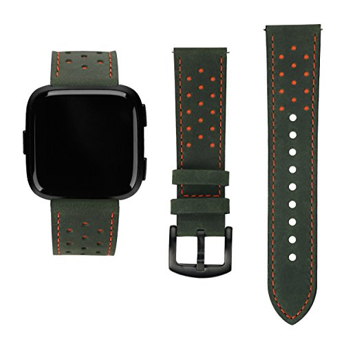 Leather Clip Wireless Solutions (Versa Replacement Leather Straps Bands with Nice Points,Accessories Wristbands for Fitbit Versa Fitness Smart Watch (Green Leather Orange Point))