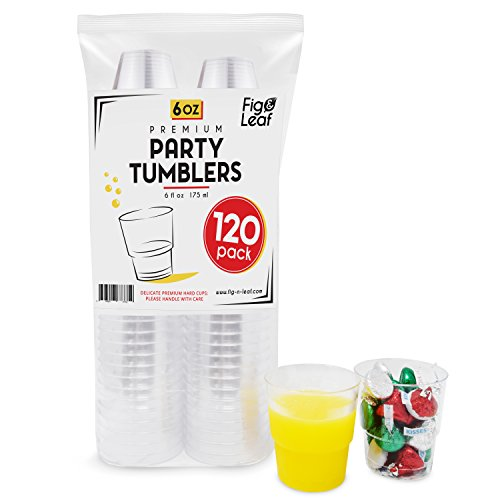 (120 Pack) Premium Hard Plastic 6 OZ Party Cups l Old Fashioned Tumblers 6-Ounce l Crystal Clear Sturdy Disposable Tumbler Glasses Reusable Durable Cup l Top Choice for Catering Wedding Birthday Event (2 Door Transport)