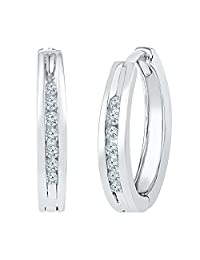 10KT White Gold Round Diamond Hoop Earring (1/10 cttw)