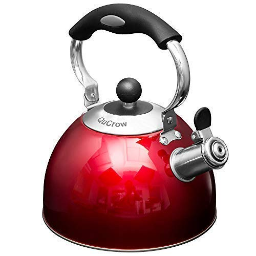 New Version QuCrow Stainless Steel Whistling Tea Kettle with Heat Proof Handle, Tea Kettles Stovetop, Tea Pot, 2.75 Quart, Red