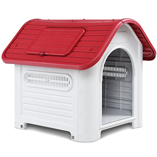 Giantex Outdoor Indoor Pet Dog House Portable Waterproof Plastic Puppy Shelter All Weather Roof Cat Dogs House with Skylight (Red)