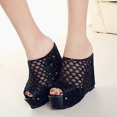 LvYuan Mujer-Tacón Cuña-Confort-Zapatillas y flip-flop-Oficina y Trabajo Vestido Informal-PU-Negro Beige Black
