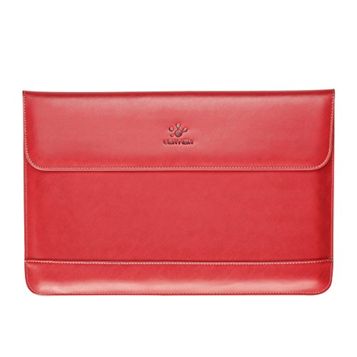 LENTION Split Leather Sleeve Case Compatible with MacBook Pro 15-inch (2019 to 2016 / Retina 2015 to 2012), More 15-inch Ultra Slim Laptops, Magnetic Snaps & Soft Touch (Red)