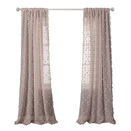 2 Panel Curtain Set - MYSKY HOME Pink Sheer Curtains for Girls Room Rod Pocket Rhombus Pompon Sheer Window Treatment Sets, 96 Inch Long, Set of 2 Curtain Panels