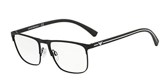 Emporio Armani 0EA1079, Monturas de Gafas para Hombre, Black Rubber, 55