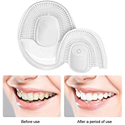 Rainrain27 Full-Automatic Variable-Frequency U Type Electric Silicone Toothbrush, 360 Ultrasonic U Type Cold Light Teeth Whitening Toothbrush Mouth Cleaner (White)
