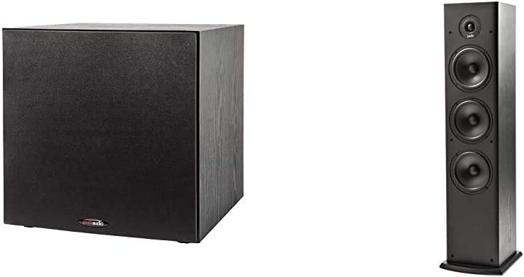"Polk Audio PSW108 10"" Powered Subwoofer & T50 150 Watt Home Theater Floor Standing Tower Speaker (Single, Black) - Hi-Res Audio with Deep Bass Response 