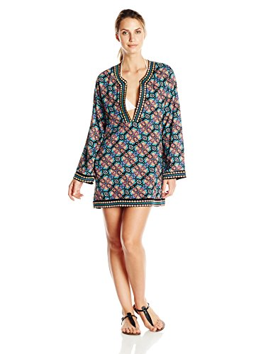 Nanette Lepore Women's Paloma Embroidered Tunic Cover Up, Multi, Medium