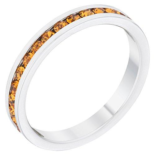- Stylish Birthstone Stackables Swarovski Crystal By Kate Bissett Yellow -November Size 5