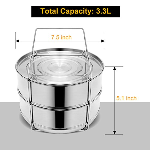 Stackable Steamer Insert Pans, Stainless Steel Insert Steamer for 6/8 Quart Instant Pot Pressure Cooker Baking Lasagna Pans Pot in Pot Accessories Cook 2 foods at Once by youermei (Image #6)